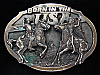 PA05122 VINTAGE 1981 **BORN IN THE USA (COWBOYS & INDIANS)** BELT BUCKLE