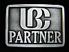 PA05151 VINTAGE 1970s **LBC PARTNER** UNKNOWN COMPANY SOLID PEWTER BUCKLE