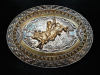 PD03160 VINTAGE 1970s **BULL RIDER** RODEO TROPHY WESTERN CRUMRINE BELT BUCKLE