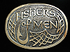 PE13128 VINTAGE 1970s **FISHERS OF MEN** RELIGIOUS SOLID BRONZE CRUMRINE BUCKLE