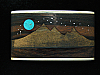 PF09169 VINTAGE 1970s KENNETH REID *MOON OVER MOUNTAIN* WOOD & TURQUOISE BUCKLE