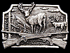 IH03141 VINTAGE 1982 ***PAIR OF BUCK DEER - CROSSED RIFLES*** PEWTER BUCKLE