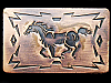 IJ01147 VINTAGE 1970s CHAMBERS ***GALLOPING HORSE*** SOUTHWESTERN DESIGN BUCKLE