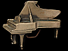 JH31134 GREAT VINTAGE 1970s CUT-OUT ***GRAND PIANO*** SOLID BRASS BUCKLE
