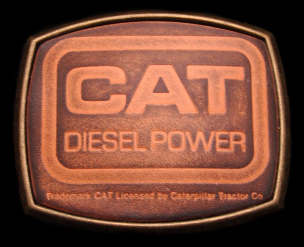OB02135 *NOS* COOL VINTAGE 1970s **CAT DIESEL POWER** BRASS & LEATHER BUCKLE