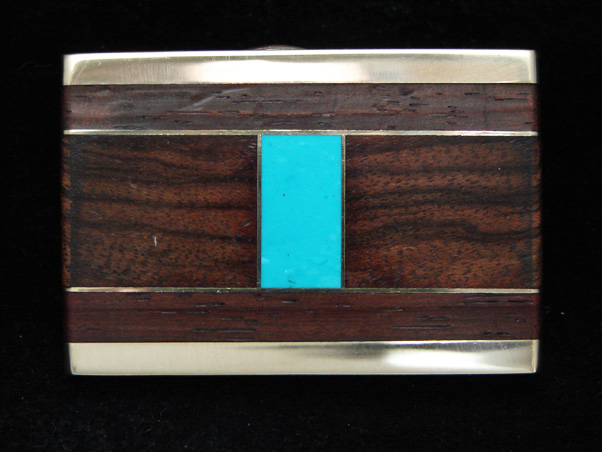 PE03145 *NOS* VINTAGE 1970s **INLAID WOOD & STONE BANDS** ART SOLID BRASS BUCKLE