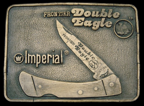 Details about LF08173 VINTAGE 1970s *IMPERIAL KNIVES* FRONTIER DOUBLE EAGLE  #400 BUCKLE w/BOX