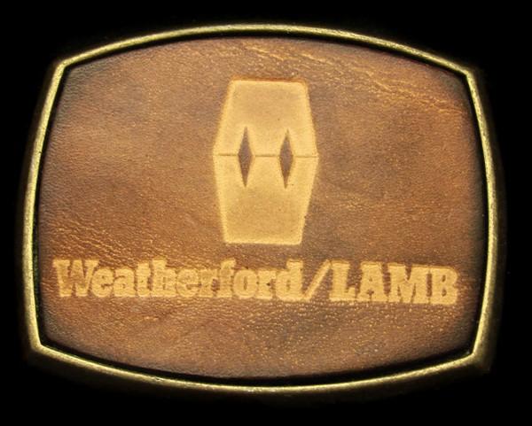 OG02146 *NOS* VINTAGE 1970s **WEATHERFORD/LAMB** BRASS & LEATHER OILFIELD BUCKLE