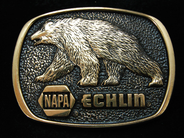 Vintage NAPA Echlin Grizzly Bear Belt Buckle Made in U.S.A.